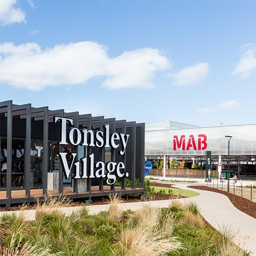 Tonsley Village sits in front of the Tonsley Main Assembly Building