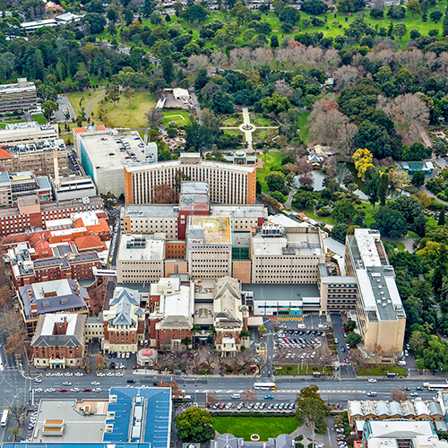 Aerial image of the former Royal Adelaide Hospital site