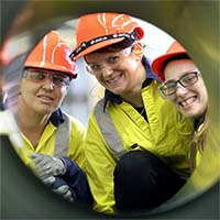 Women in Steel students Sonia, Mandy and Alexandra