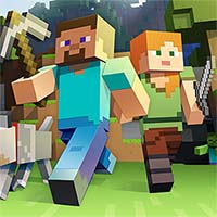 Minecraft characters stride through a Minecraft landscape