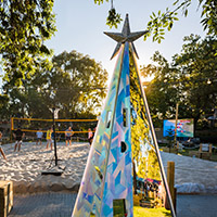 Paul Grant's Refraction Christmas Tree on the tree trail at Urban Beach