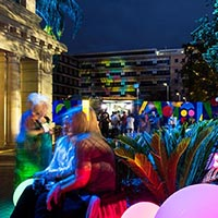 LIT and The Hive lighting installations colour the former Royal Adelaide Hospital site