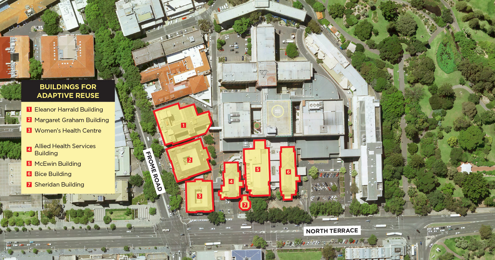 Aerial map showing location of Margaret Graham, McEwin, Women's Health Centre, Allied Health Services, Bice, Sheridan and Eleanor Harrald buildings