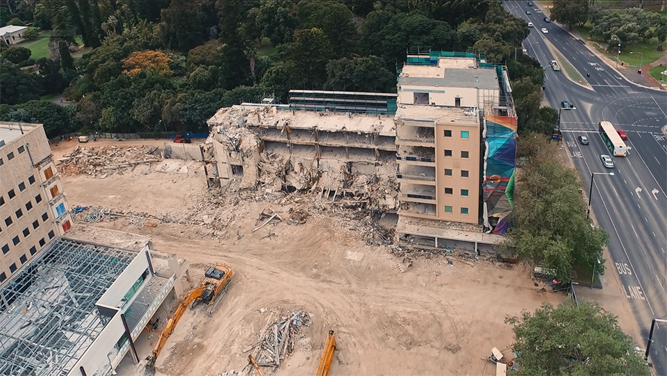 Lot Fourteen site during Stage One demolition
