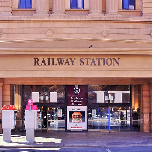 Adelaide Railway Station North Terrace west entrance