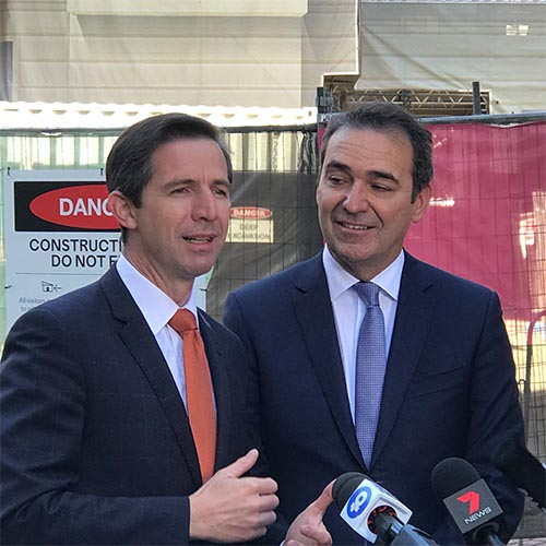 Senator Simon Birmingham and Premier Steven Marshall speak to the press at Lot Fourteen