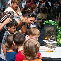 Visitors at Tonsley Open Day interact with an exhibit
