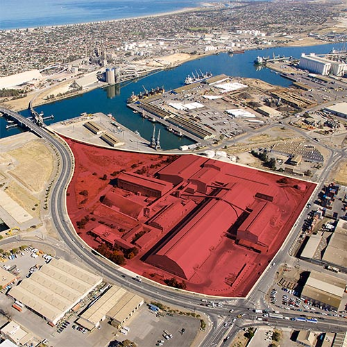 Aerial of Port Approach North highlighted in red