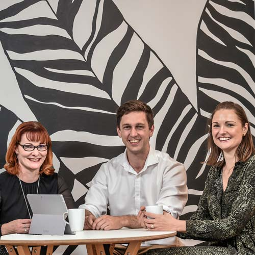 Left to right: Defence Teaming Centre CEO Audra McCarthy, Convergen Managing Director Anton Andreacchio, and Presagen Co-Founder and CEO Dr Michelle Perugini.