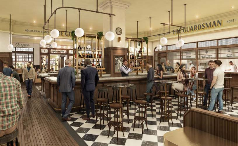 An artist's impression of the view inside the new Guardsman bar at the Adelaide Railway Station
