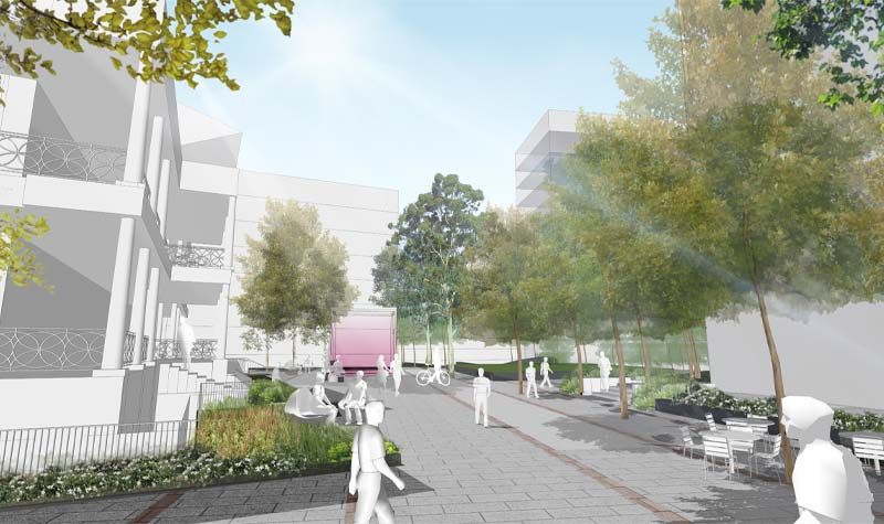 Artist's impression of public realm at Lot Fourteen piazza