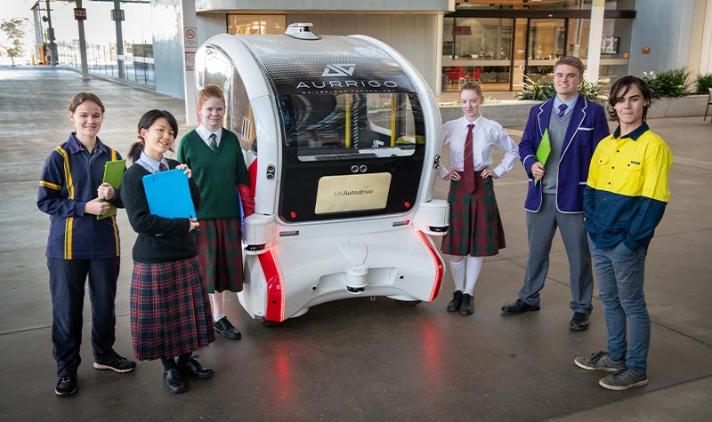 Students learnt about driverless vehicle technology at the STEMWorks school tour at Tonsley Innovation District.