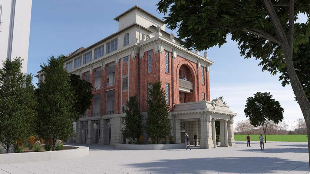 A render of the Bice Building external facade at Lot Fourteen after restoration and refurbishment are complete