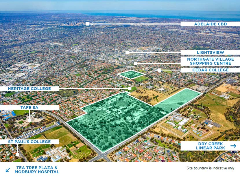 Aerial of development site at Oakden