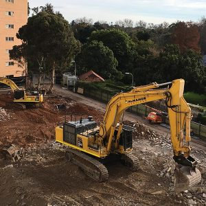 PC 350 and PC 850 excavators clear the site of the former Hone and Cobalt wings
