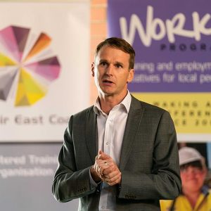Renewal SA acting Chief Executive Mark Devine speaks at the graduation ceremony