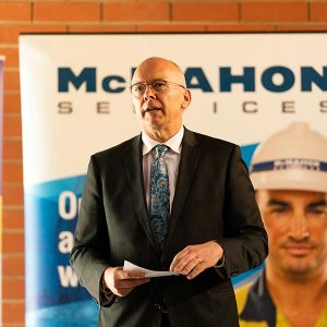 The Hon David Pisoni, Minister for Industry and Skills, speaks at the graduation ceremony