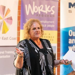 Renewal SA Training and Employment Initiatives Manager, Samantha Wilson, speaks at the graduation ceremony
