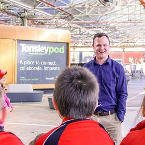 Students receiving a tour of Tonsley Innovation District.