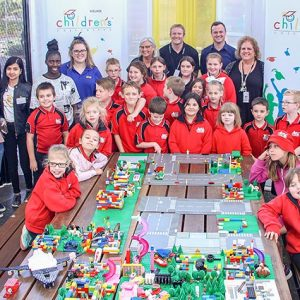 Group shot of Children's University tour at Tonsley Innovation District.