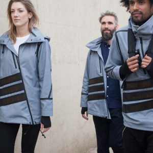 Windbreakers with solar panels sewn on